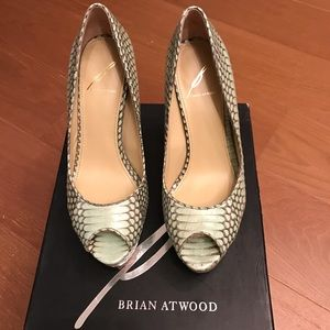 Brian Atwood mint snakeprint open toe pumps